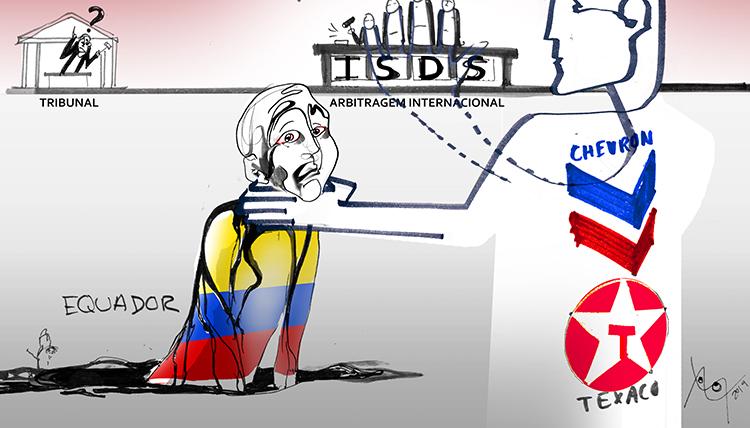 Cartoon sobre o caso Chevron vs Equador