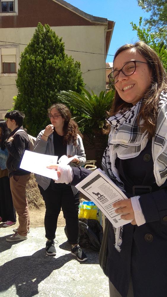 Coimbra IV encontro feminista -distribução flyers